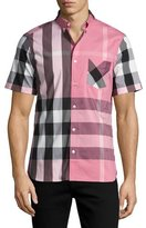 Burberry Thornaby Short-Sleeve Check Sport Shirt, Sugar Pink