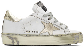 Golden Goose White and Gold Hi Star Sneakers