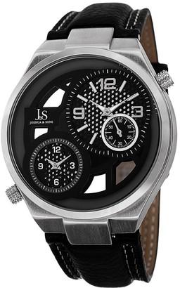 Joshua & Sons Men's Swiss Quartz Dual Time Leather Silver-Tone Strap Watch - silver