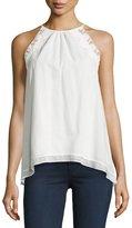 Max Studio Sleeveless Lace-Trim Cotton Blouse, White