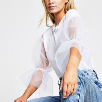 River Island Womens Petite White short sleeve mesh top