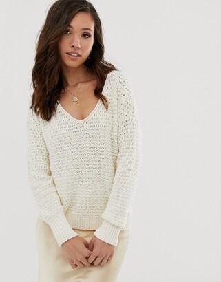 Abercrombie & Fitch scoop knit jumper in cream