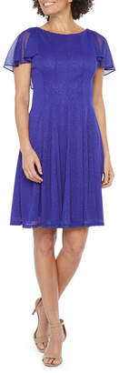 J Taylor Short Sleeve Fit & Flare Dress