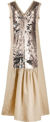 Alysi Sequin Embroidered Panel Dress