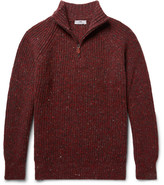 Inis Meáin - Boatbuilder Slim-fit Merino Wool And Cashmere-blend Half-zip Sweater - Burgundy