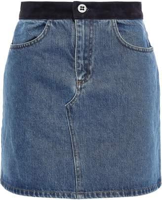 Victoria Victoria Beckham Victoria, Victoria Beckham Suede-trimmed Denim Mini Skirt