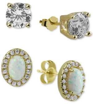 Argentovivo 2-Pc. Set Cubic Zirconia & Synthetic Opal Stud Earrings in Gold-Plated Sterling Silver