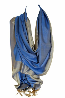 Bullahshah Silk Two Sided Reversible Two Tone Wrap Scarf Stole Shawl Head Scarves (Blue and Beige)