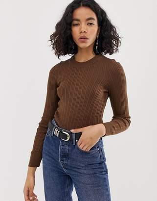 Asos Design DESIGN ribbed sweater in fine knit-Beige