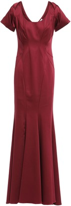 ZAC Zac Posen Fluted Ruffled Stretch-faille Gown