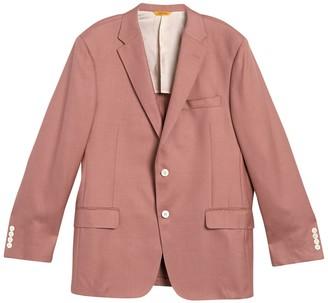 Hickey Freeman Pink Solid Two Button Notch Lapel Classic B Fit Wool & Silk Blazer