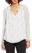 NYDJ Clipped Jacquard Soft Ruffled Mandarin Collar Blouse