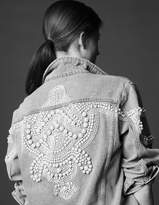Oversized denim jacket with bead details