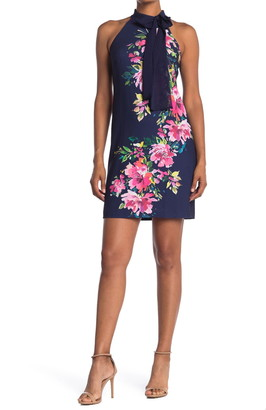 Vince Camuto Bow Neck Floral Sheath Dress