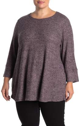 Cable & Gauge Brushed Waffle Knit Pullover (Plus Size)
