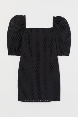 H&M Eyelet Embroidery Dress - Black