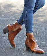 Mata Shoes Women's Casual boots TAN - Tan Croc-Embossed Double-Zip Celeste Bootie - Women