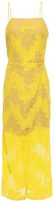 GOEN.J Wrap-effect Cotton-blend Chantilly Lace And Gauze Midi Dress