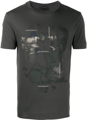 Emporio Armani abstract-print cotton T-shirt