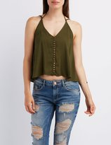 Charlotte Russe Button-Up Strappy Tank