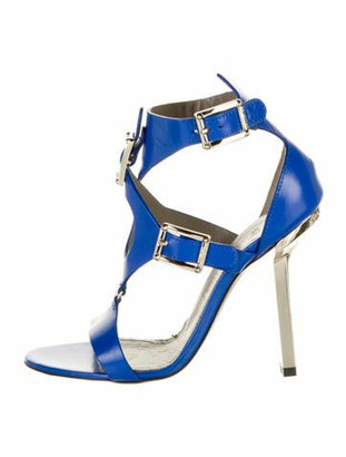 Versace Leather Cutout Accent Gladiator Sandals w/ Tags Blue
