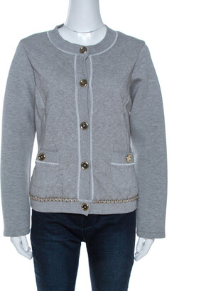 Dolce & Gabbana Grey Quilted Cotton Knit Chain Detail Jacket M
