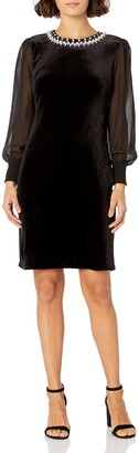 Tahari ASL Women's Petite Velvet Column Gown with Beaded Neck