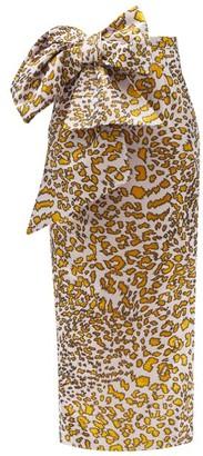 Halpern Bow-embellished Leopard-jacquard Linen-blend Dress - Black Gold