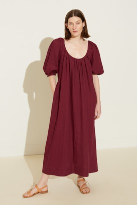 Mansur Gavriel Linen Balloon Sleeve Dress - Wine