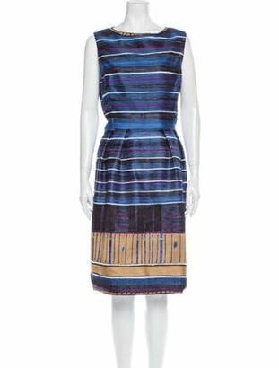 Oscar de la Renta Silk Midi Length Dress Blue
