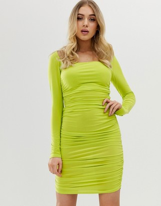 Club L London long sleeve square neck mini dress-Green