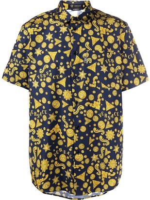 Versace Barocco Western print short-sleeved shirt