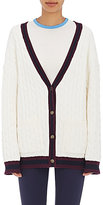 Tory Sport Women's Cable-Knit V-Neck Cardigan-WHITE