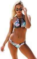 Ninimour Womens Alluring Floral Graphic Hollow Strappy Bikini Set