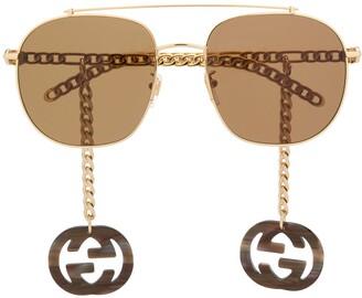 Gucci Charm Detail Aviator-Frame Sunglasses