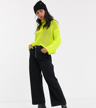 Noisy May high neck boxy knitted jumper in neon