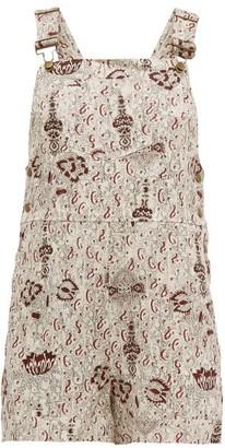 BEIGE Sir - Stella-print Linen Short Dungarees - Womens