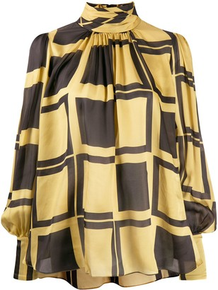 Zimmermann silk geometric pattern blouse
