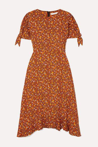 Faithfull The Brand Emilia Floral-print Crepe Midi Dress - Brown
