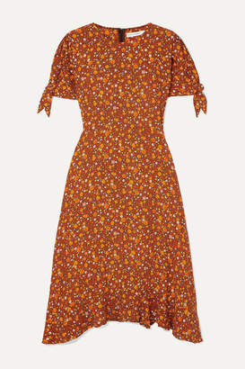 Faithfull The Brand Emilia Floral-print Crepe Midi Dress - Brown