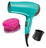 Remington D3015CBCDN Ceramic Ionic Hair Dryer with Shower Conditioning Brush, Teal