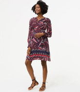 LOFT Maternity Paisley Pop Smocked Cuff Dress