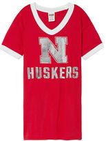PINK University Of Nebraska Bling V-Neck Ringer Tee