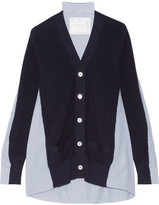 Sacai Ribbed Cotton And Poplin Cardigan - Midnight blue