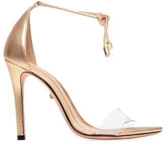 Schutz Josseana Ankle-Tie Metallic Leather Sandals