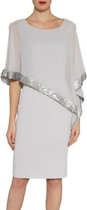 Gina Bacconi Crepe Dress And Sequin Chiffon Cape