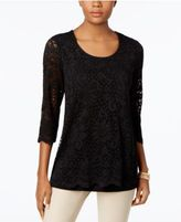 JM Collection Lace Three-Quarter-Sleeve Top, Only at Macy's