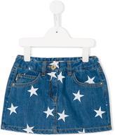 Moschino Kids star print denim skirt