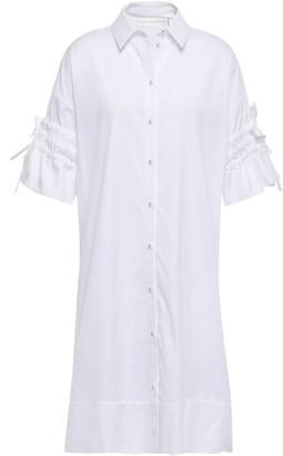 Victoria Victoria Beckham Victoria, Victoria Beckham Gathered Cotton-poplin Mini Shirt Dress
