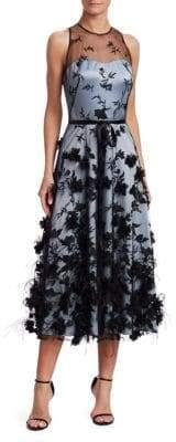 Theia Embroidered Tulle Midi Dress